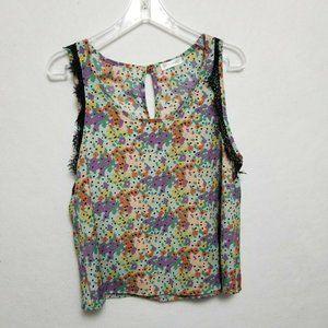 Peppermint Top M Lace Trim Floral Print Layering